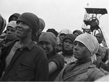 Soviet industrialization, First Five Year Plan, female workers, Horlivka mines 1932